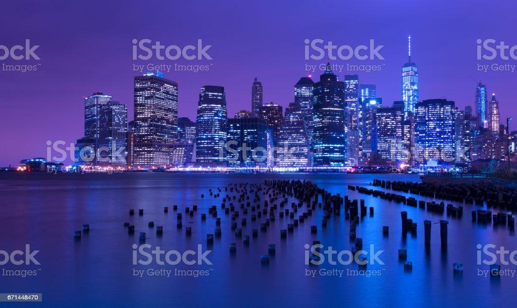 New York city skyline at night, Manhattan, USA stock photo