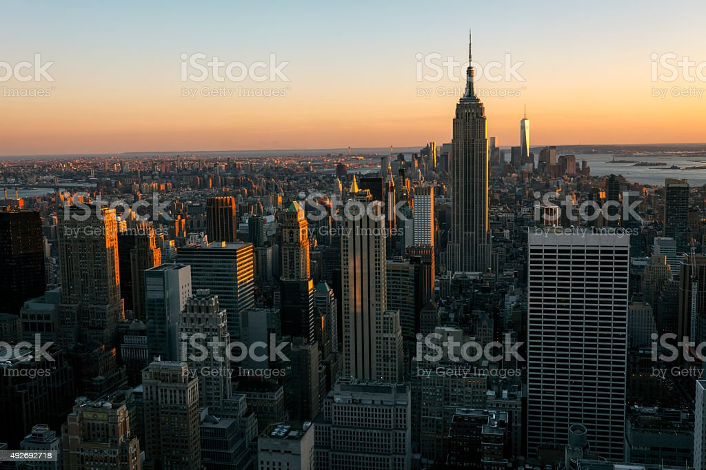 New York City Skyline at Twilight, Aerial View stock photo