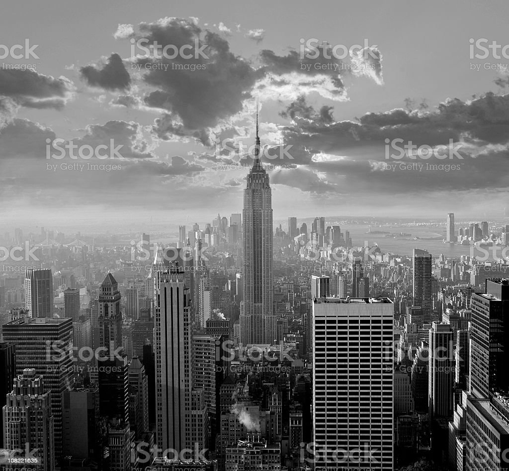 New York City Skyline, Black and White royalty-free stock photo