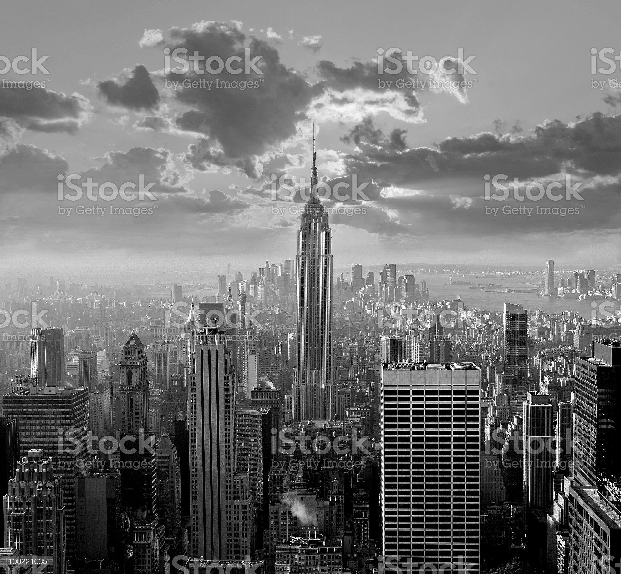New York City Skyline, Black and White royalty-free stock photo
