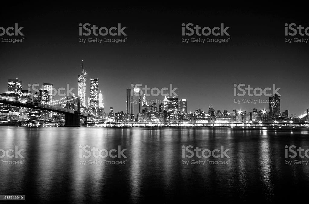 New York City skyline by night. Manhattan view II. stock photo