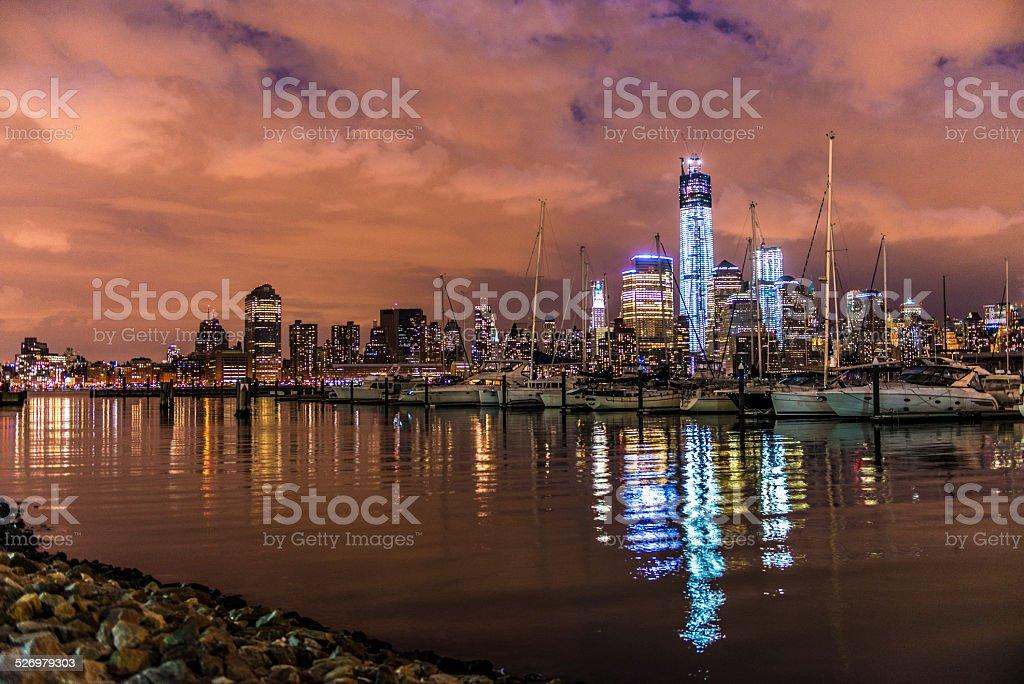 New York City Skyline by night stock photo