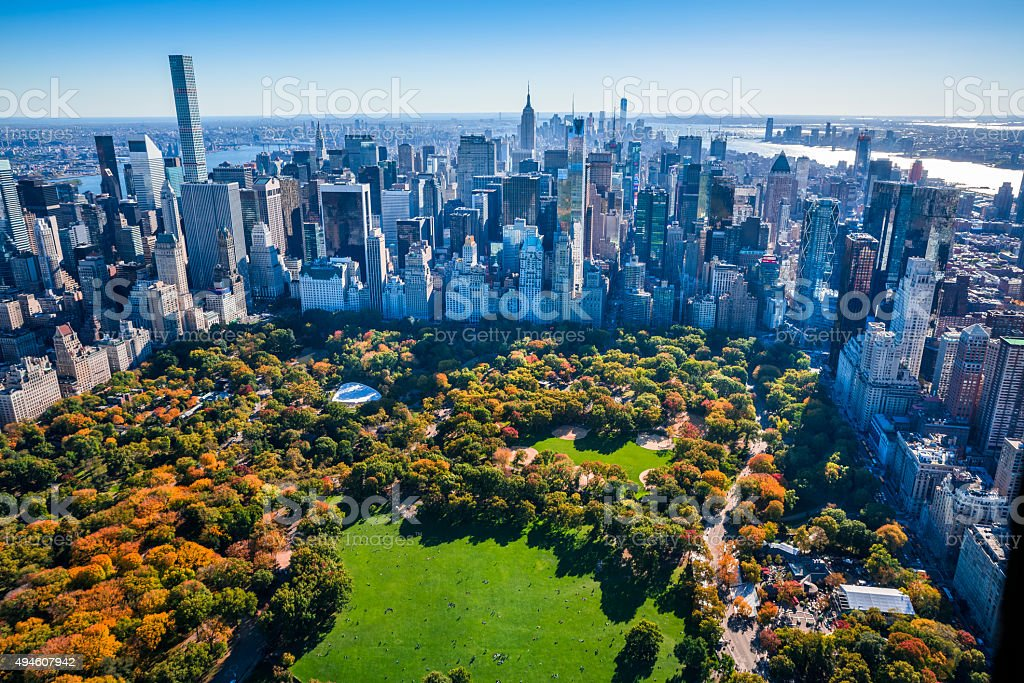 New York City Skyline, Central Park, autumn foliage, aerial view stock photo