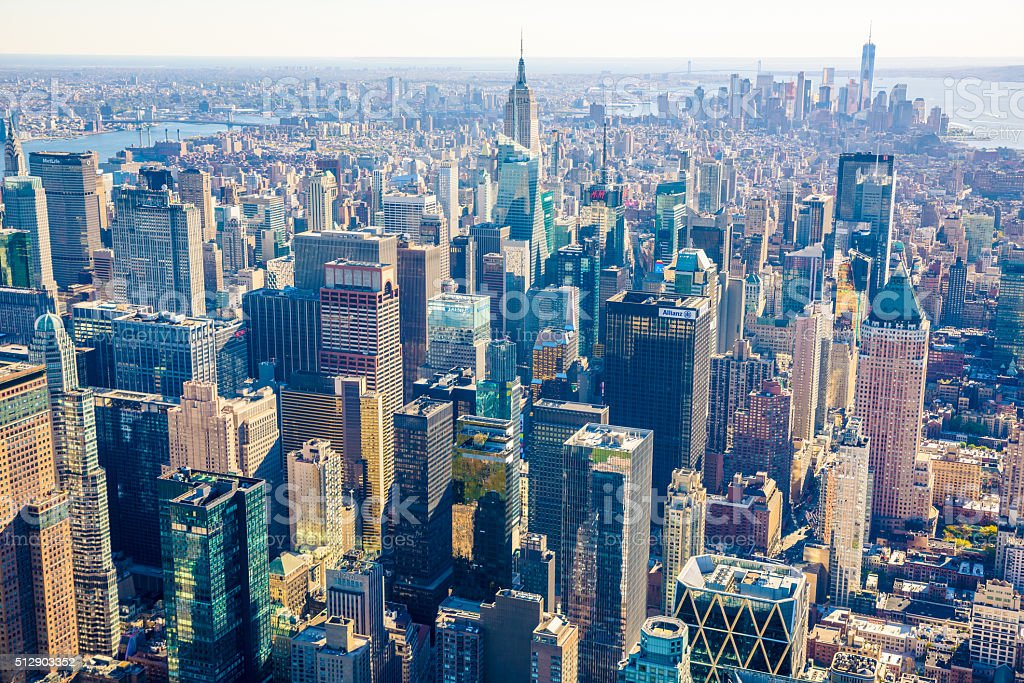 New York City Skyline, cityscape, golden hour, aerial view stock photo