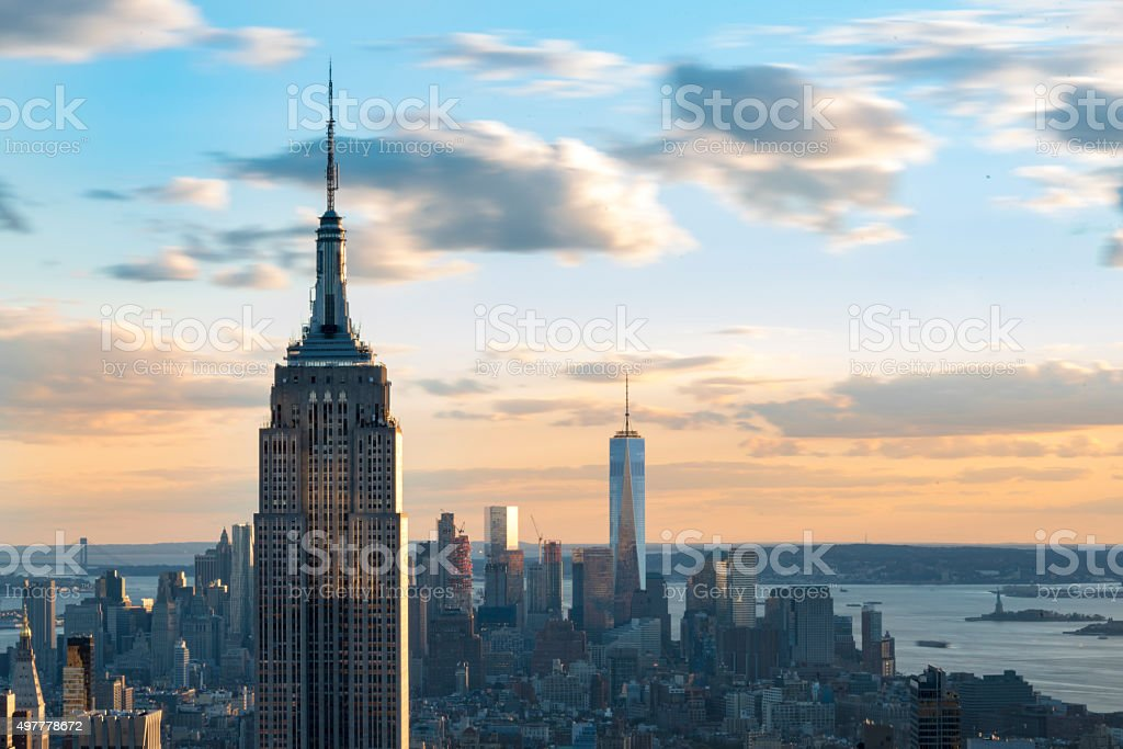 Empire State building with One World Trade Center in the distant...