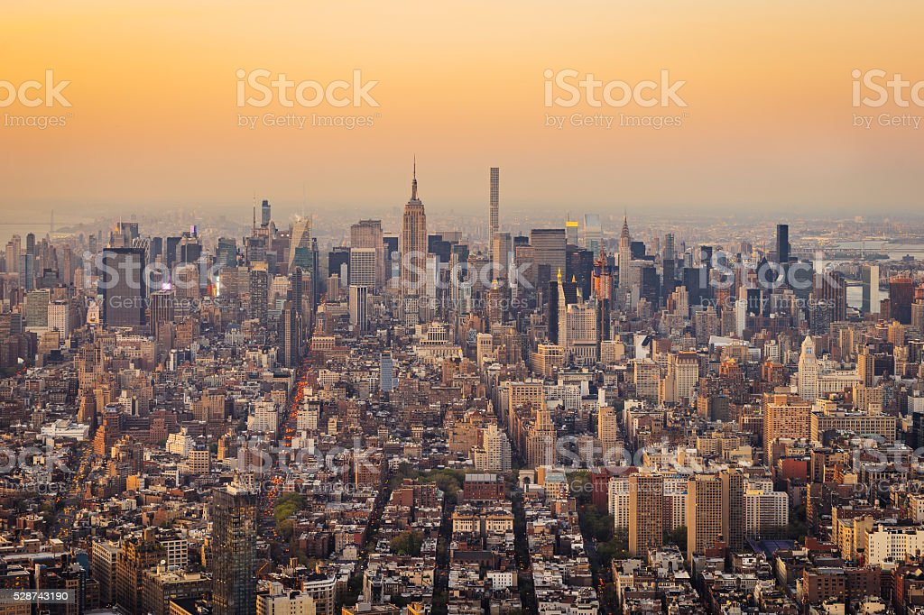 New York City Skyline - Empire State Building At Sunset stock photo