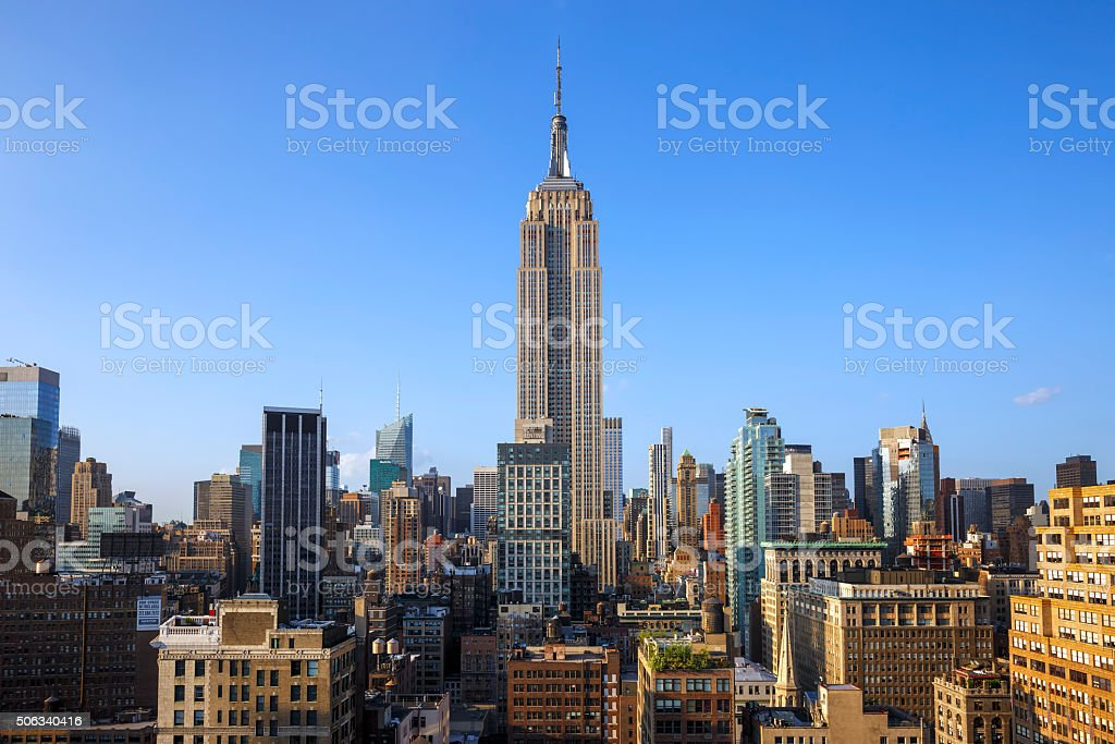 New York City skyline featuring Empire State building, USA stock photo