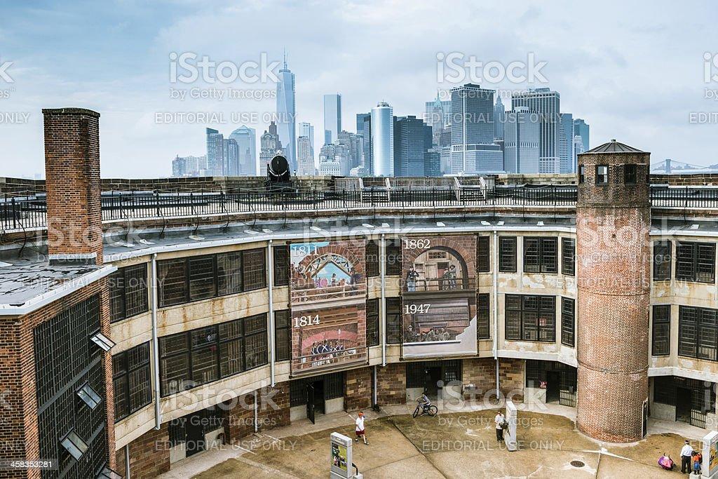 New York City Skyline form Governors Island stock photo