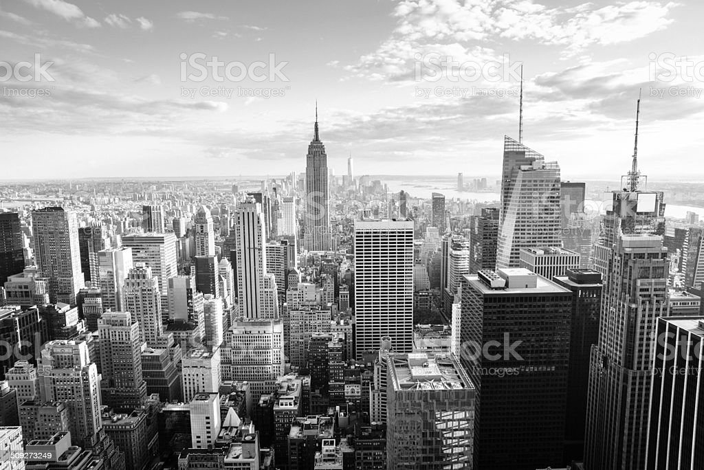 New York City Skyline in black and white stock photo