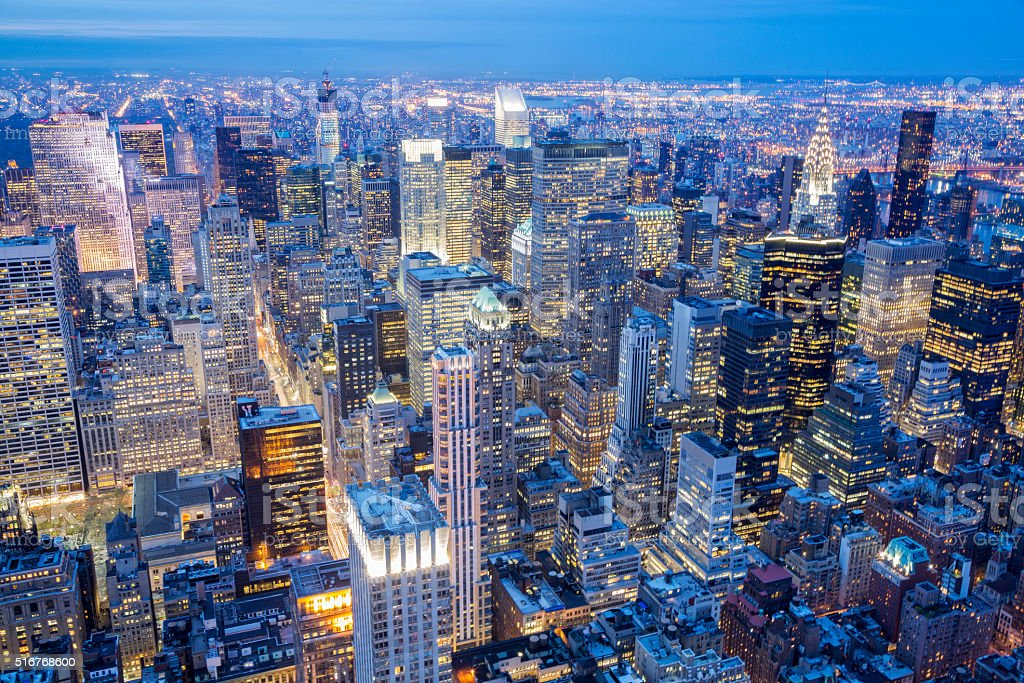 New York City Skyline, Manhattan, Aerial View at Night stock photo