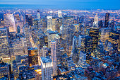 New York City Skyline, Manhattan, Aerial View at Night