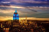 New York City skyline. Night. Empire State Building. Twilight sky.