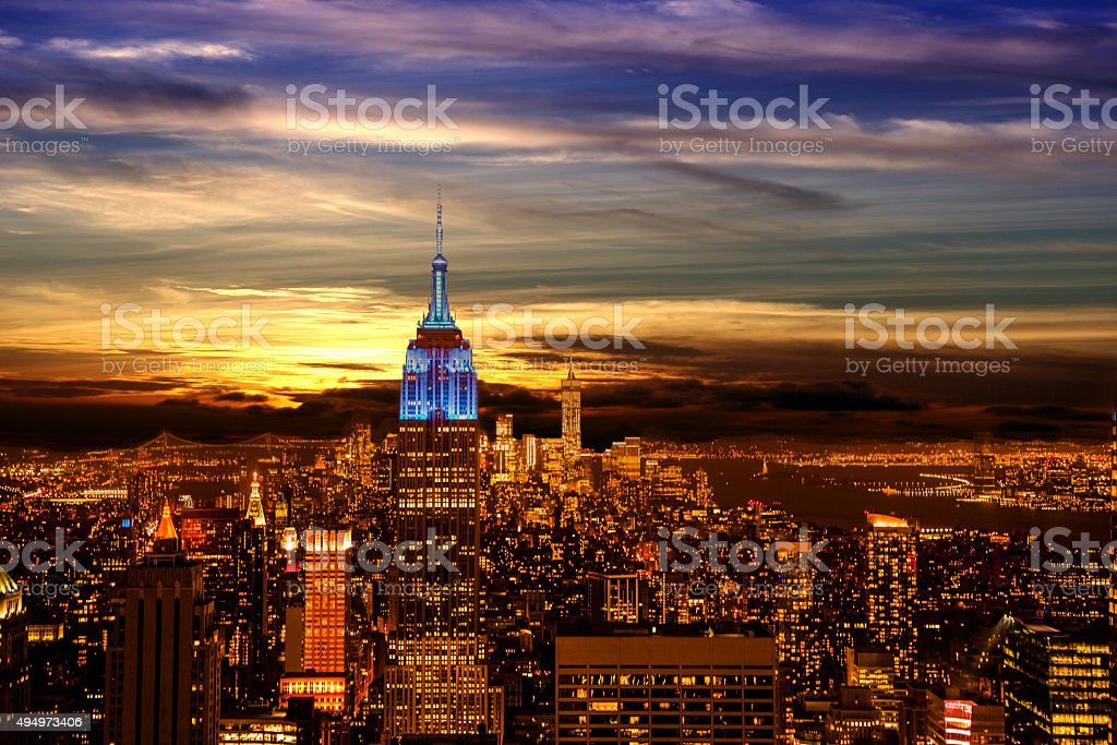 New York City skyline. Night. Empire State Building. Twilight sky. stock photo