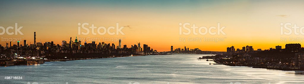 New York City Skyline Panorama over Hudson River at Sunset stock photo