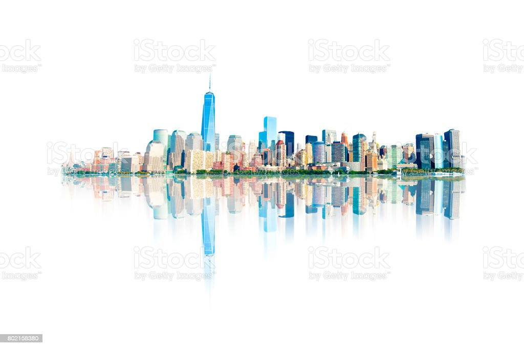 New York City Skyline Reflected on White stock photo