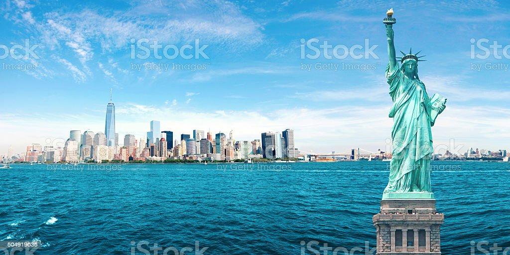 New York City Skyline, Statue of Liberty, World Trade Center stock photo