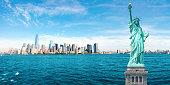 New York City Skyline, Statue of Liberty, World Trade Center