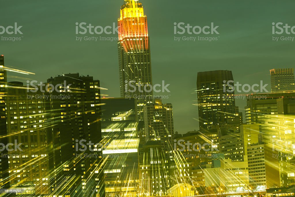 New York City skyline with abstract motion blurred lights stock photo