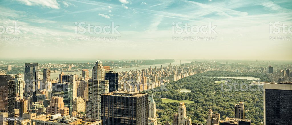 New york city skyline with central park at dusk royalty-free stock photo