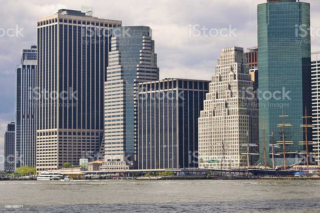 New York City Skyline with Financial District of Manhattan. stock photo