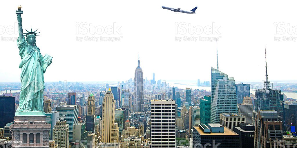 New York City Skyline with Statue of Liberty and Airplane stock photo