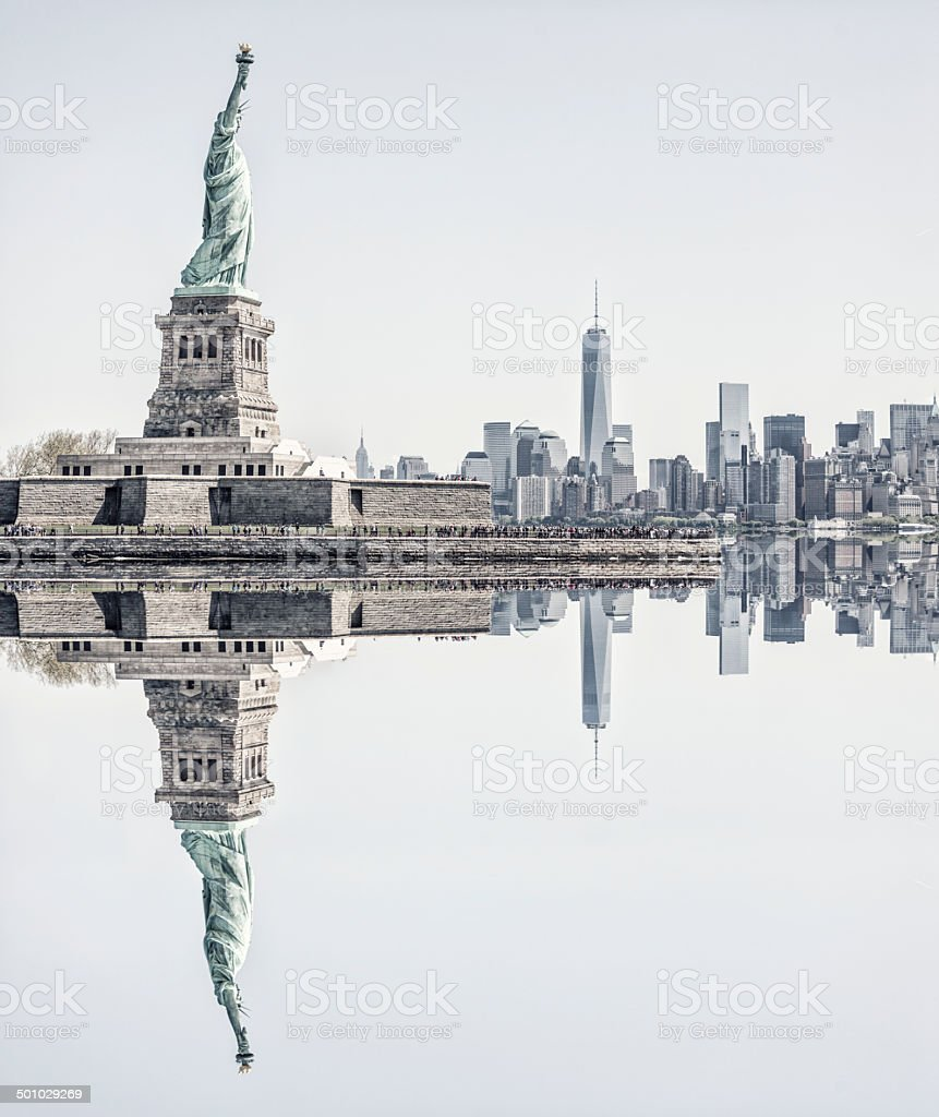 New York City Skyline with the Statue of Liberty stock photo