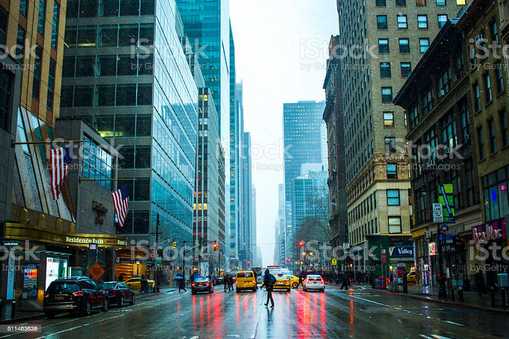 New York City Snow Rainy day stock photo