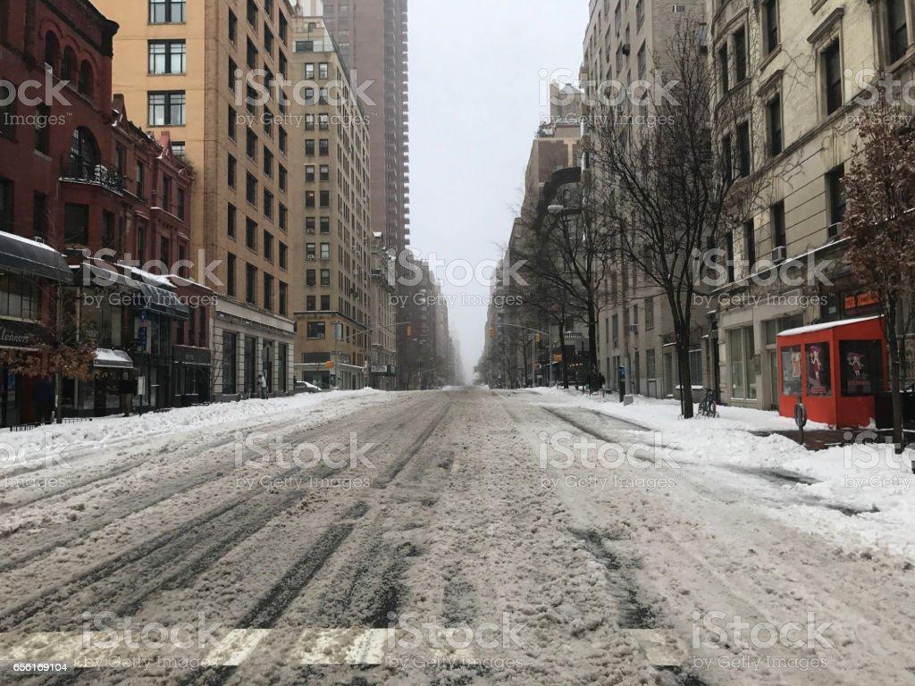 New York City snow storm stock photo