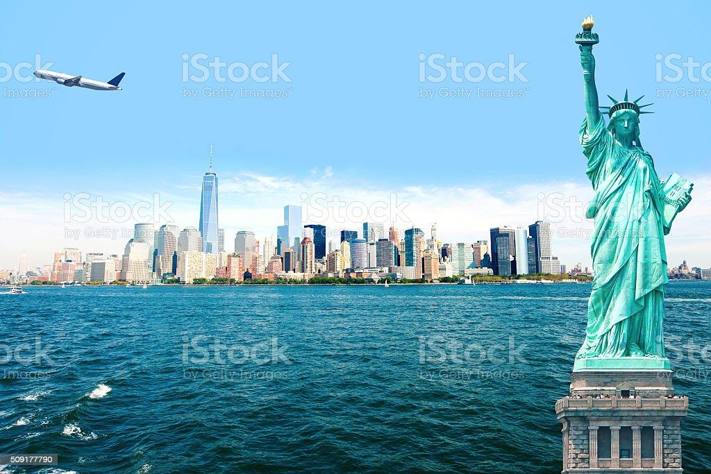 NEW New York City Statue of Liberty Airplane stock photo
