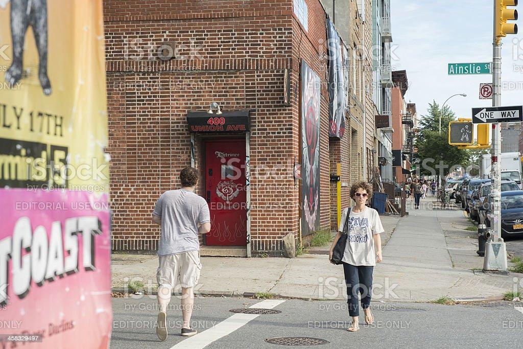 New York City Street Scene Union Avenue in Brooklyn royalty-free stock photo