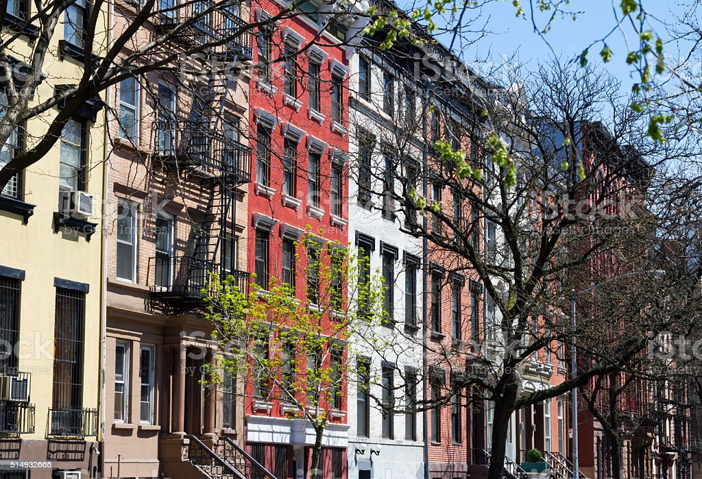 New York City Street Scene with Apartment Buildings stock photo