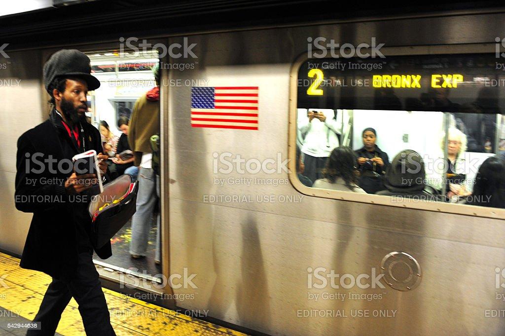 New York City Subway African American stock photo