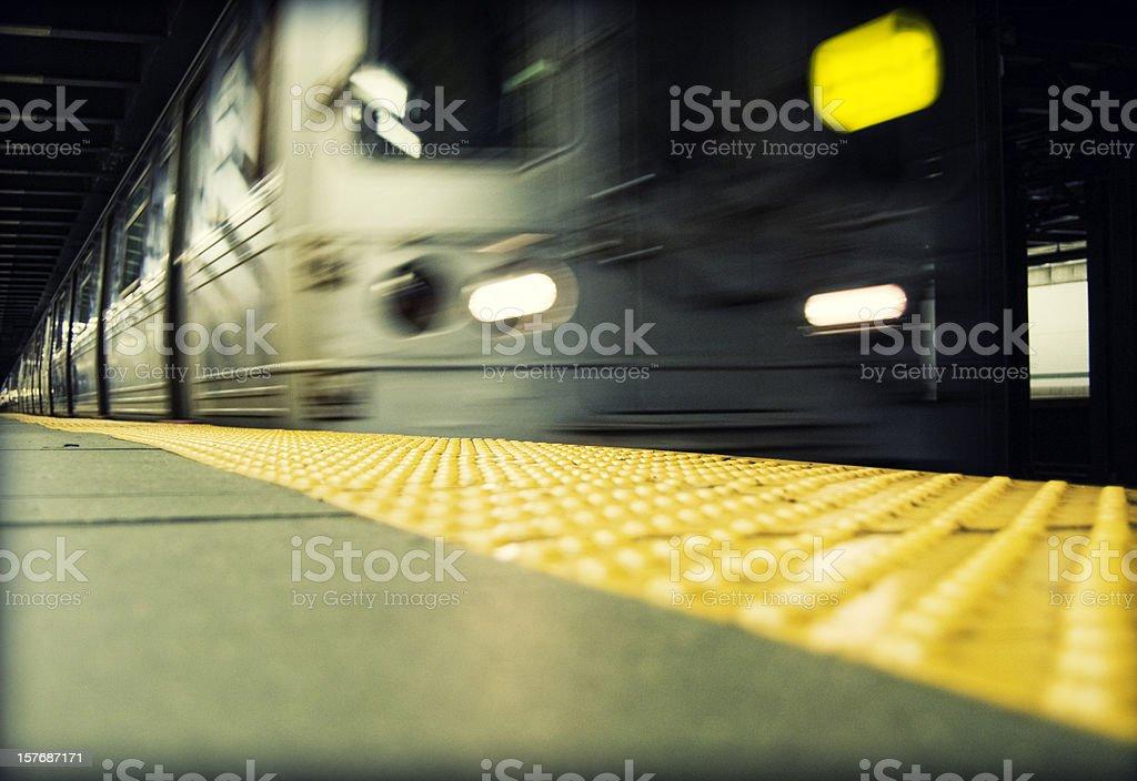 New York City Subway in Motion stock photo