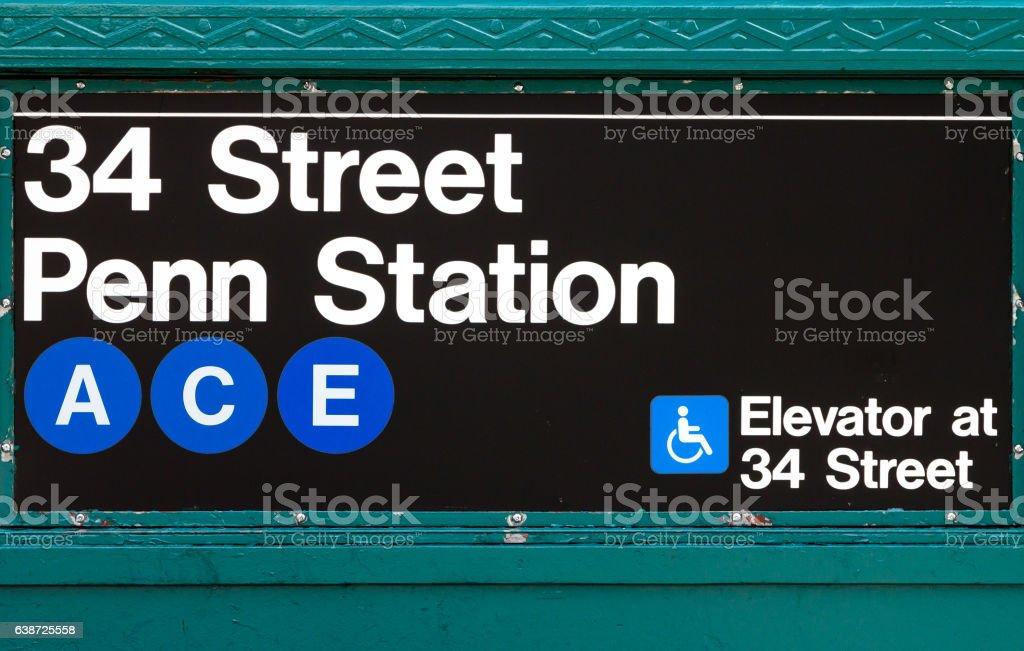 New York City Subway Sign Penn Station 34th Street stock photo
