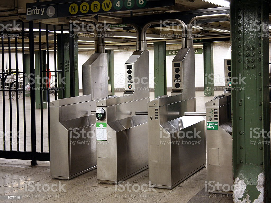 New York City Subway Turnstile stock photo
