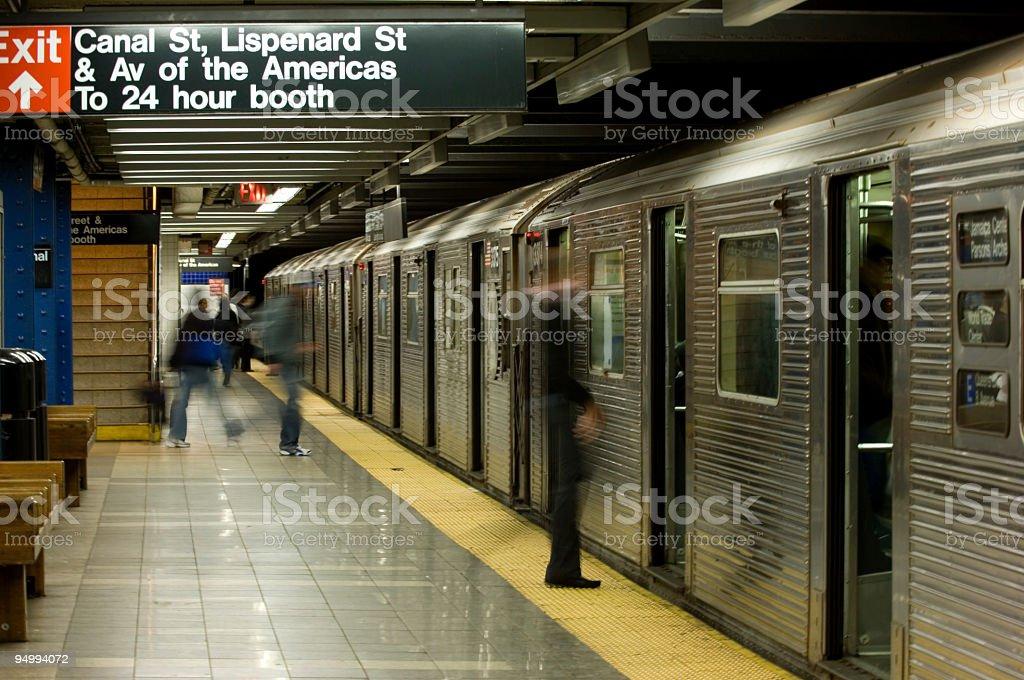 New York City subway with train stock photo