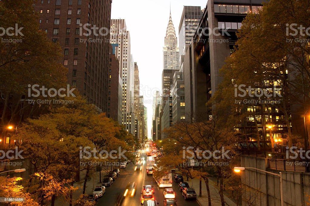 New York City sunset from Tudor City, USA stock photo