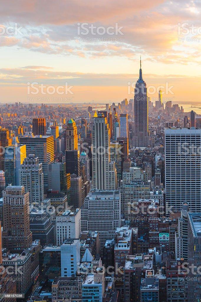 New York city, sunset in Manhattan aerial view stock photo