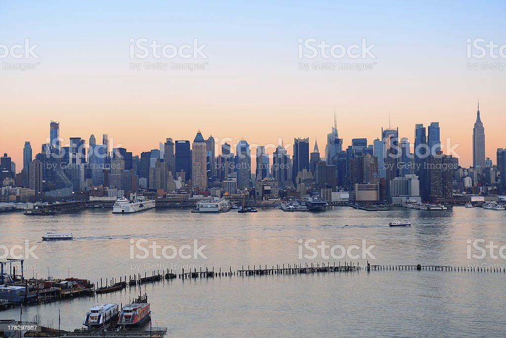 New York City sunset royalty-free stock photo