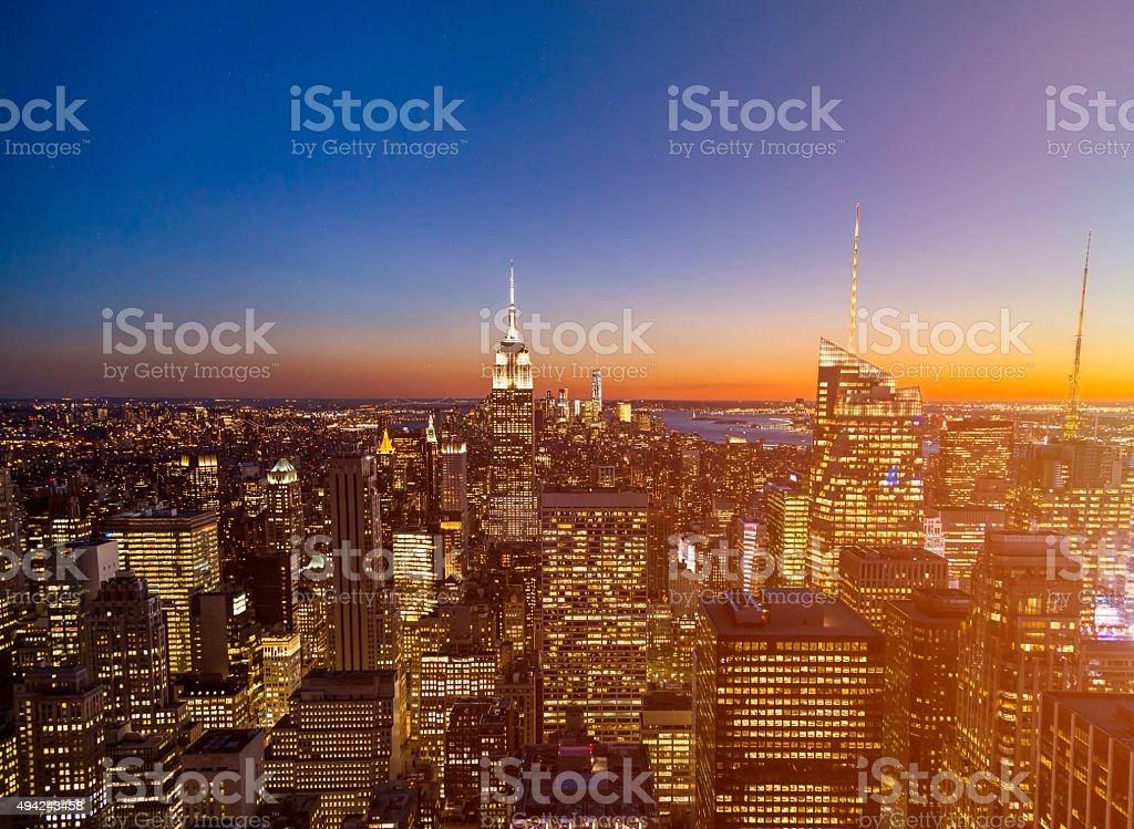 New York City Sunset Skyline stock photo