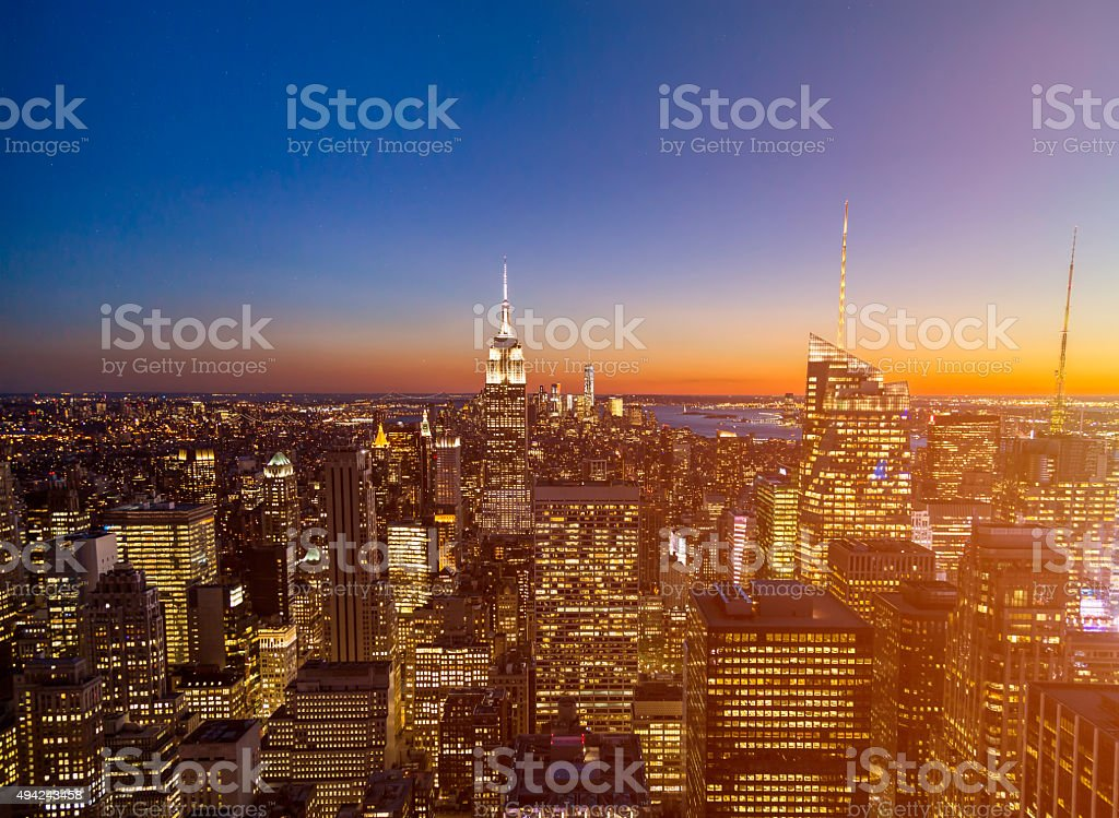New York City Sunset Skyline stock photo