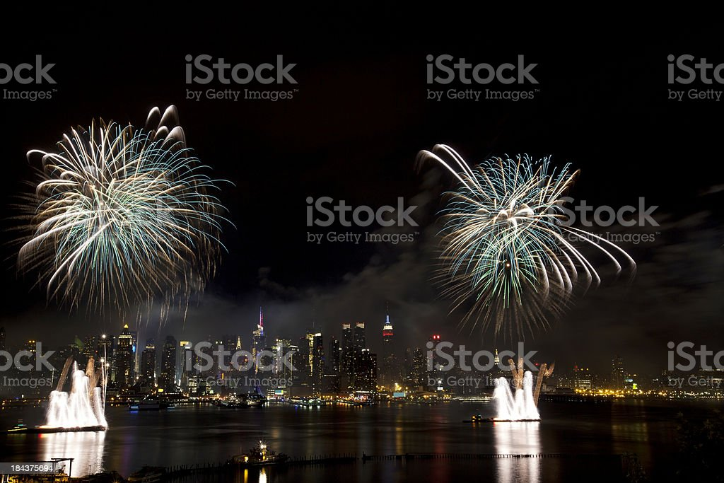 New York City Syncronized Fireworks royalty-free stock photo