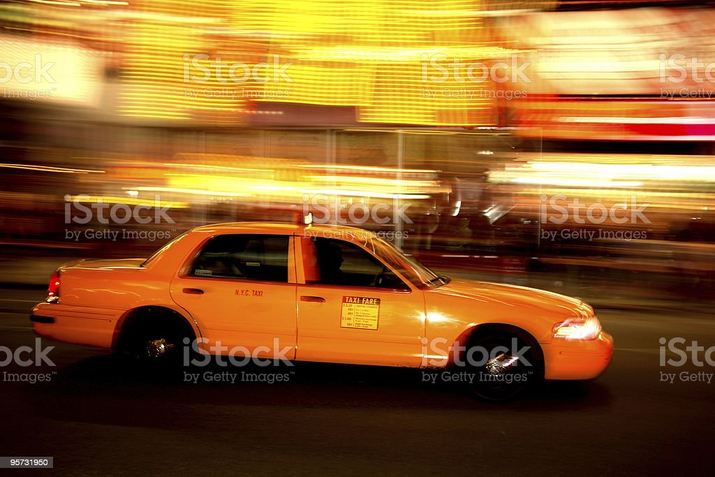 New York City Taxi Cab in Times Square - panned royalty-free stock photo