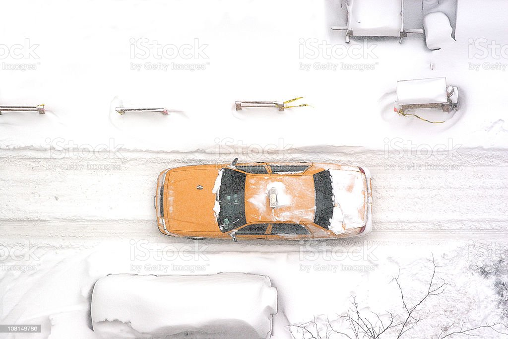 New York City taxi driving in blizzard, aerial royalty-free stock photo