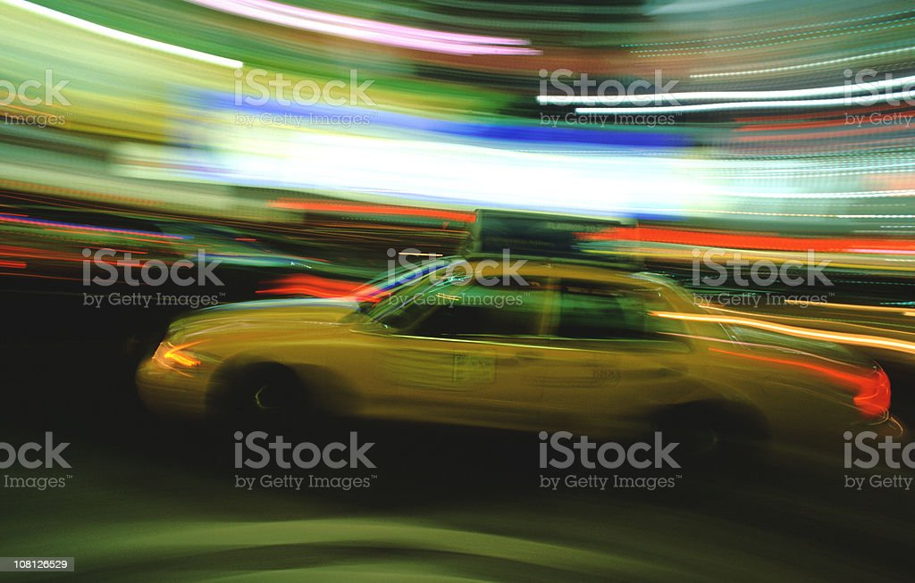 New York City Taxi, Motion Blur royalty-free stock photo