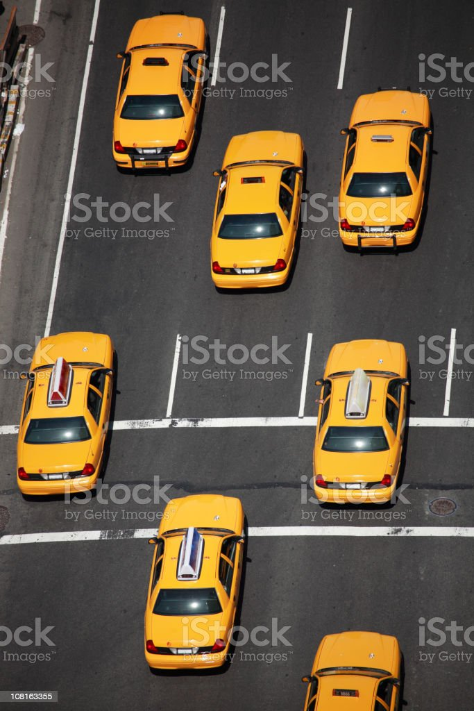 New York City Taxis - aerial stock photo