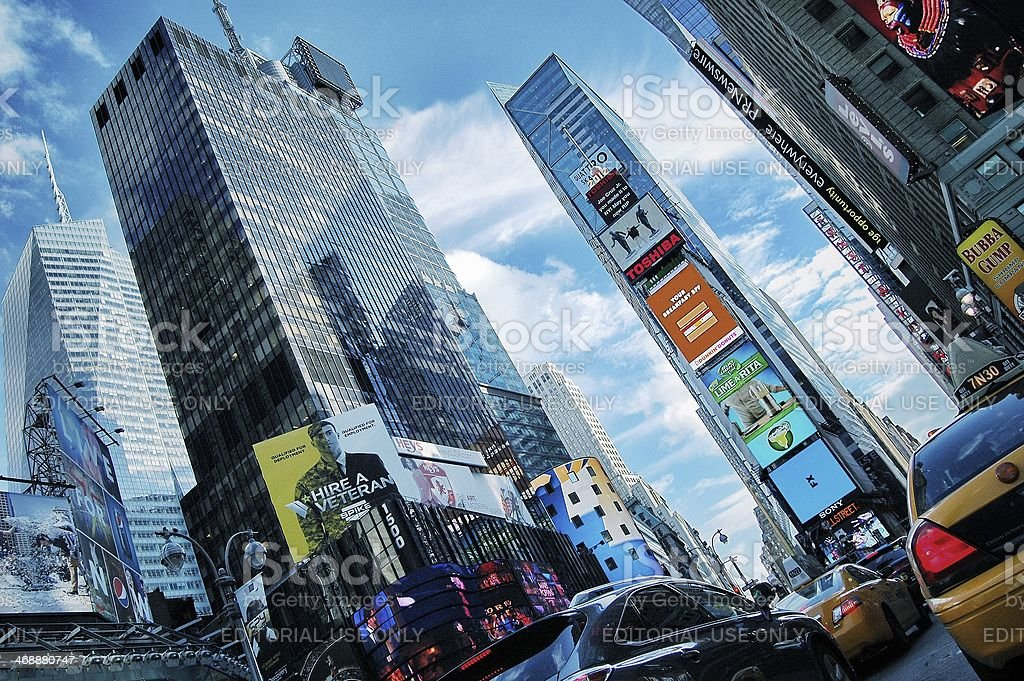 New York City, Times Square low angle view of skyscrapers. royalty-free stock photo