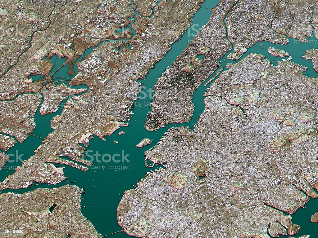 New York City Topographic Map D Landscape View Natural Color - Nyc map topographic
