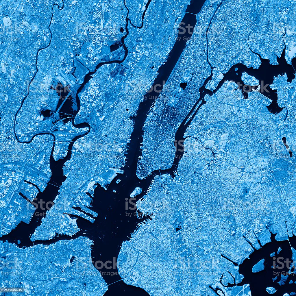 New York City Topographic Map Blue Color Top View stock photo