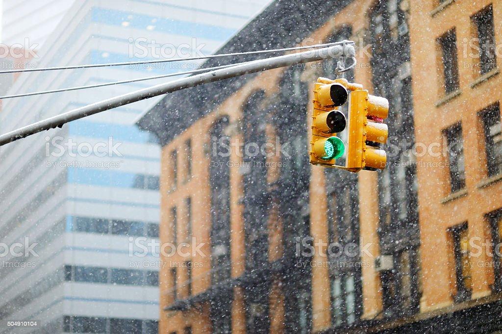 New York city traffic lights on winter day stock photo